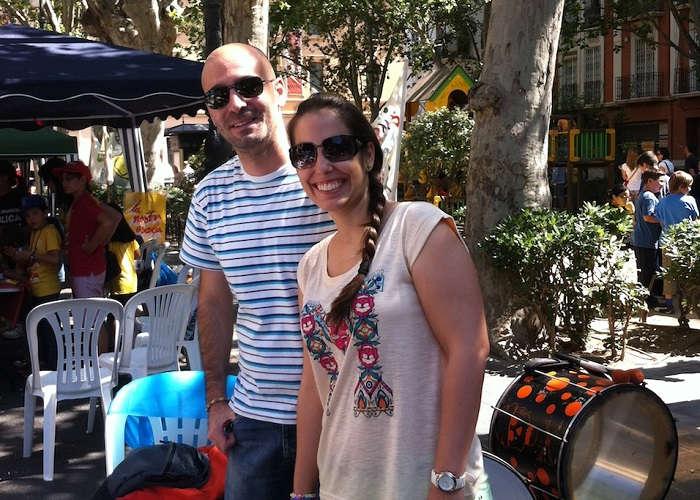 Foto de dos asistentes a las Trobades d'Escoles en Valencià (2014)